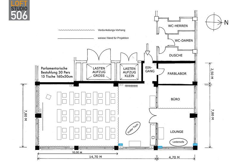 grundriss loft506 parlament loft 506 mietstudio f r foto film und eventlocation. Black Bedroom Furniture Sets. Home Design Ideas